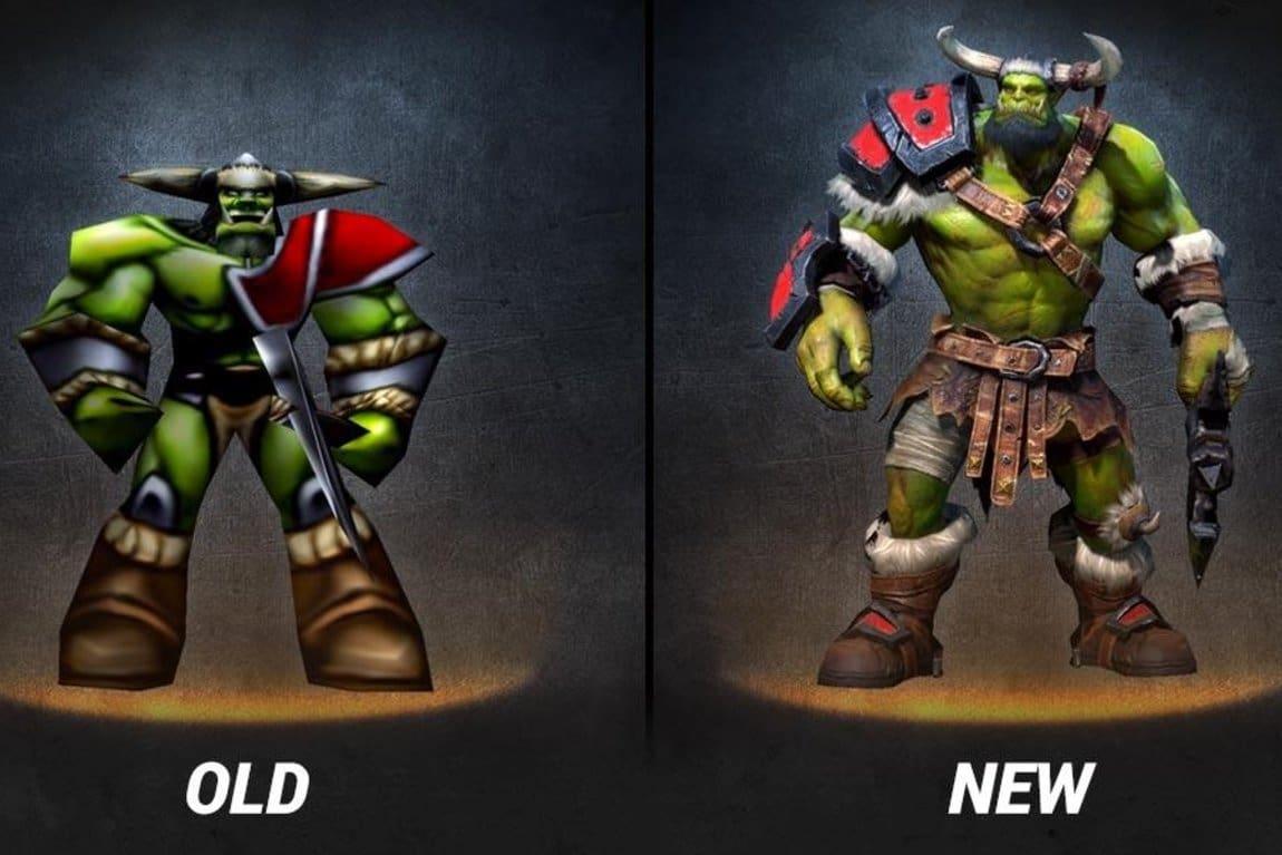 Orc de la version Reign of Chaos et de la version Reforged